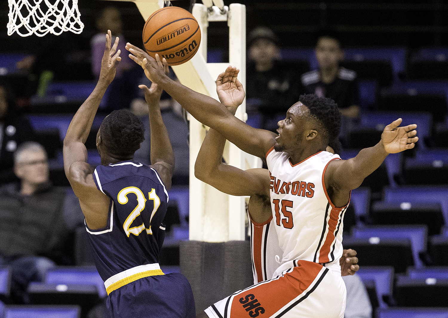 Springfield's Ananise Mackey fouls Southeast's Anthony Fairlee during the Boys City Tournament at the Bank of Springfield Center Friday, Jan. 19, 2018. [Ted Schurter/The State Journal-Register]