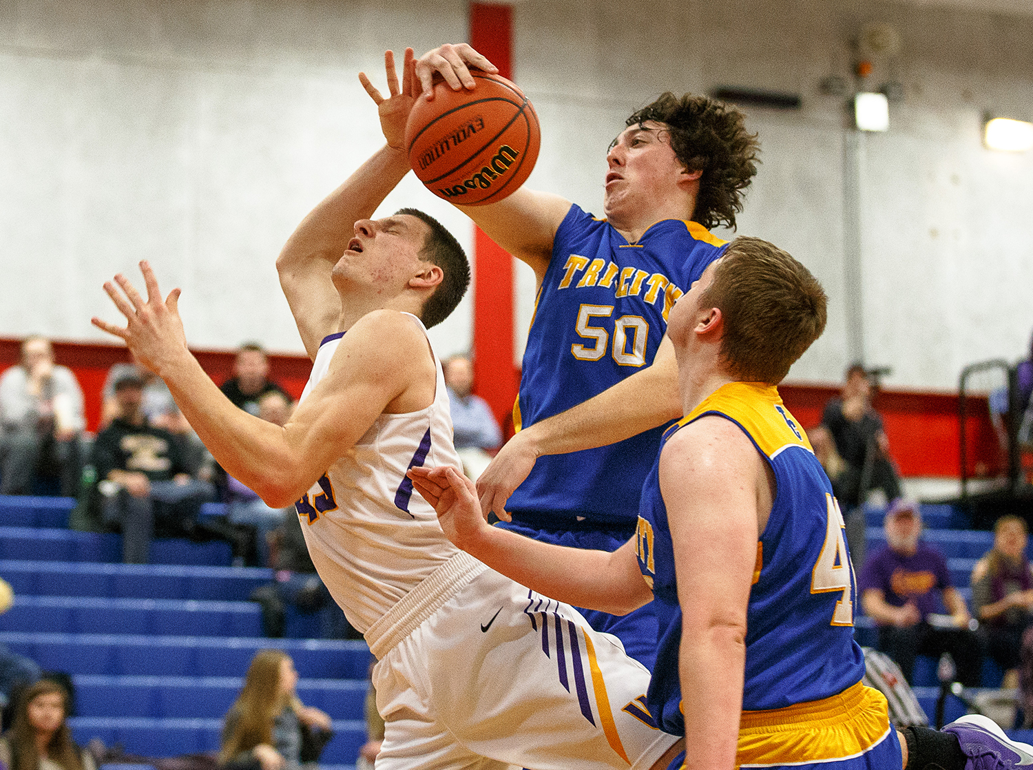 Buffalo Tri-City's Eldon Largent (50) blocks a shot from Williamsville's Scott O'Conner (43) in the second half during opening night of the Boys Sangamon County Tournament at Lincoln Land Community College's Cass Gymnasium, Monday, Jan. 8, 2018, in Springfield, Ill. [Justin L. Fowler/The State Journal-Register]