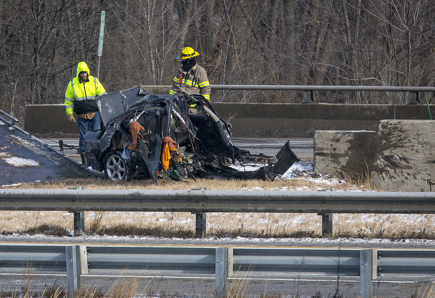 A man was killed when his car left the southbound lane of I- 55 between Illinois 4 and Divernon Monday, Jan. 15, 2018 and struck a concrete bridge barrier. Illinois State Police said the vehicle was reportedly traveling at a high rate of speed just before the crash. [Rich Saal/The State Journal-Register]