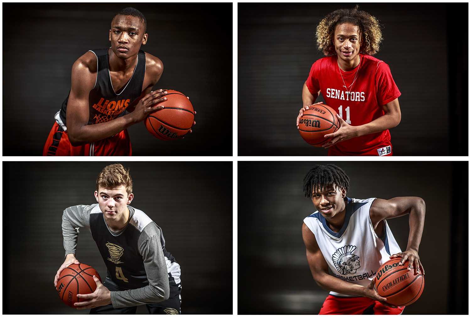 Lanphier senior guard James Jones, top left, Springfield junior guard Zaire Harris, top right, Sacred Heart-Griffin junior guard Charlie Hamilton, bottom left, and Southeast junior guard Stepheon Sims, bottom right.The four were considered to play a key role for their respective teams in advance of the Springfield City Boys Basketball Tournament. [Justin L. Fowler/The State Journal-Register]