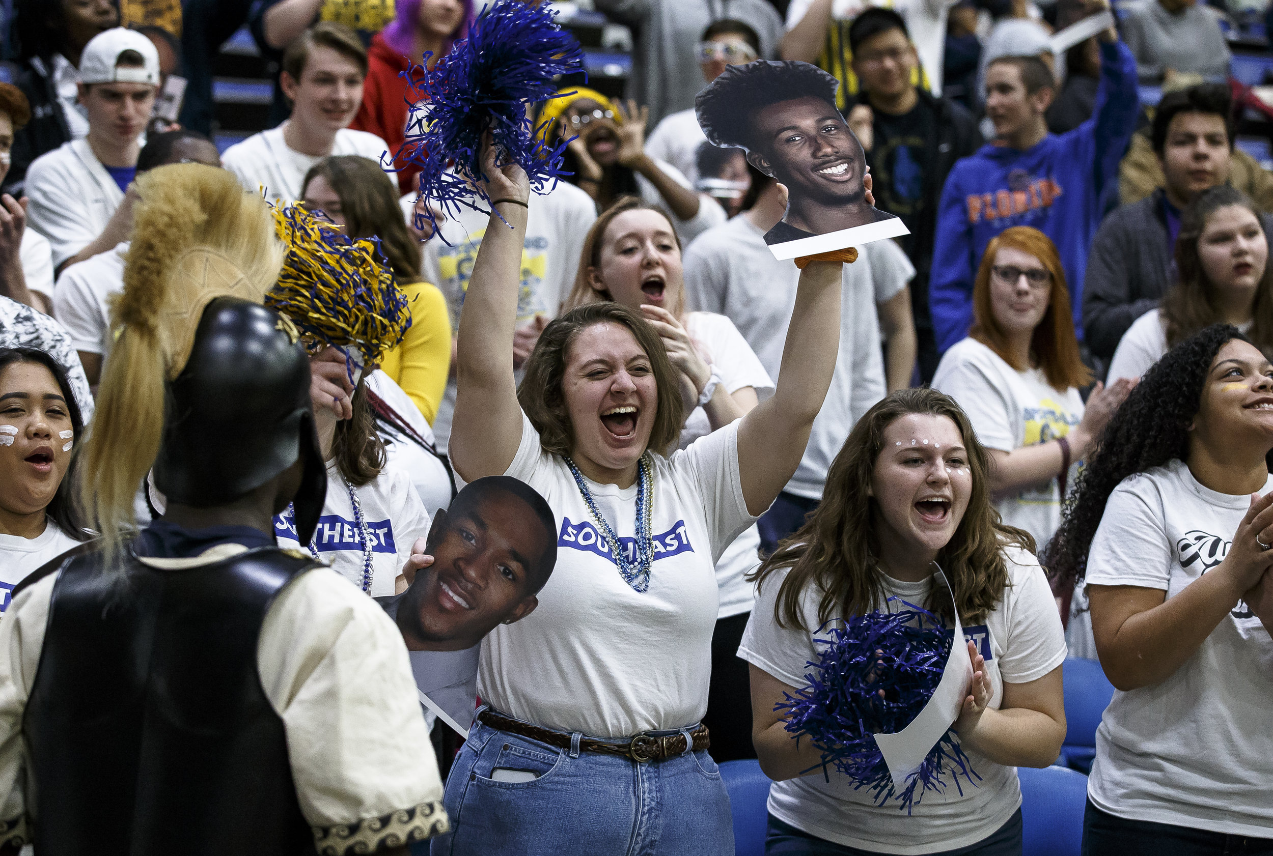 Southeast fans cheer on the Spartans as they take on Marion in the first half during the Class 3A Springfield Supersectional at the Bank of Springfield Center, Tuesday, March 13, 2018, in Springfield, Ill. [Justin L. Fowler/The State Journal-Register]