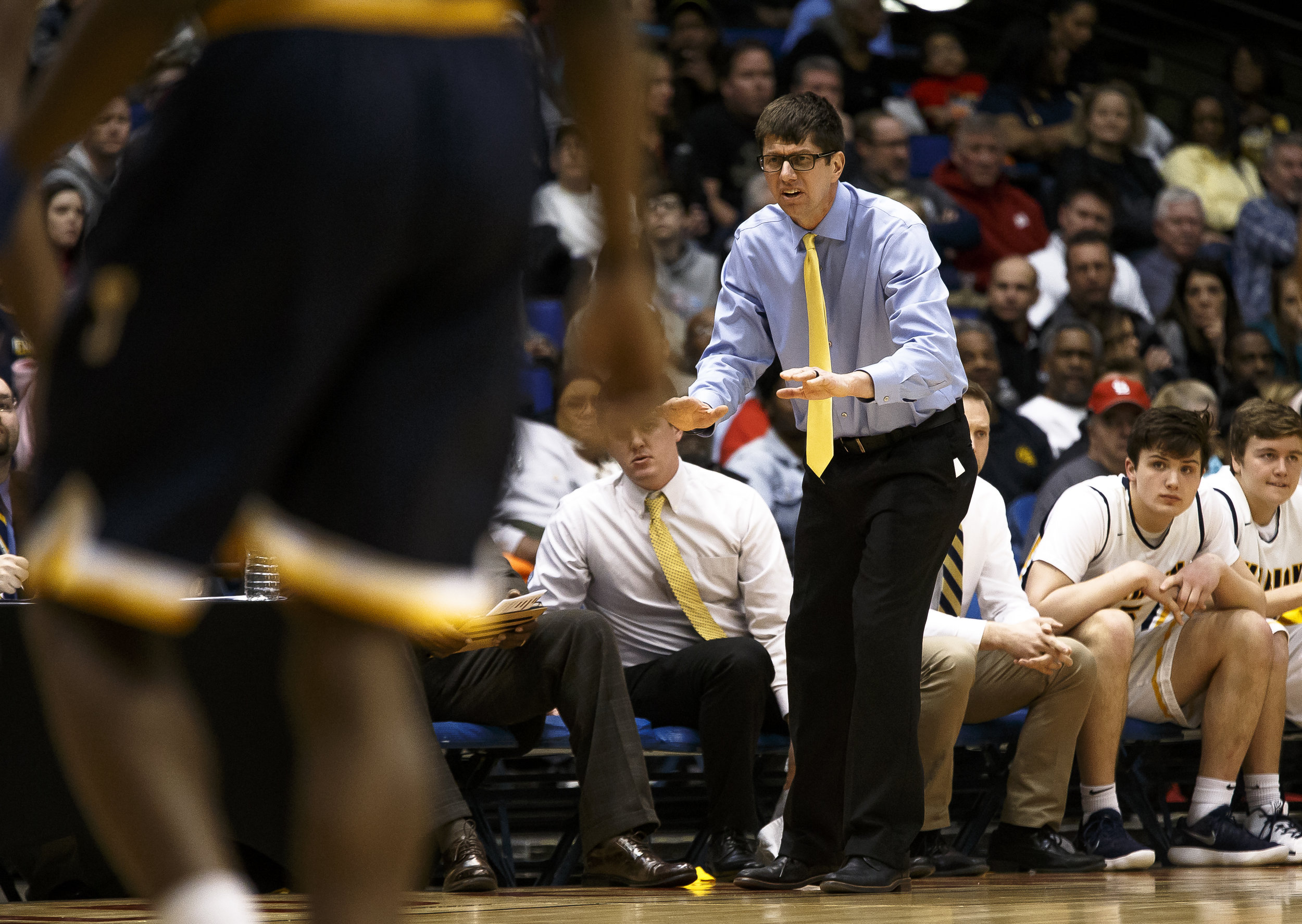 Marion boys basketball head coach Gus Gillespie tires to get his team to settle in as they take on Southeast in the second half during the Class 3A Springfield Supersectional at the Bank of Springfield Center, Tuesday, March 13, 2018, in Springfield, Ill. [Justin L. Fowler/The State Journal-Register]