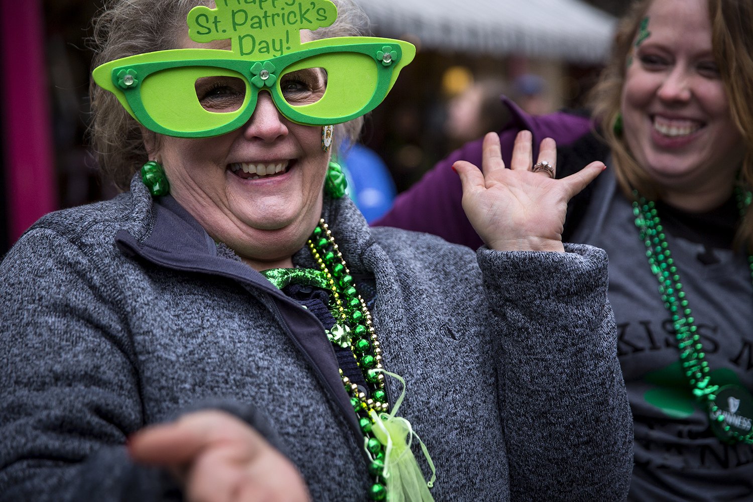 Diane Motley enjoys the St. Patrick's Day Parade along Sixth Street Saturday, March 17, 2018  in Springfield, Ill. [Rich Saal/The State Journal-Register]