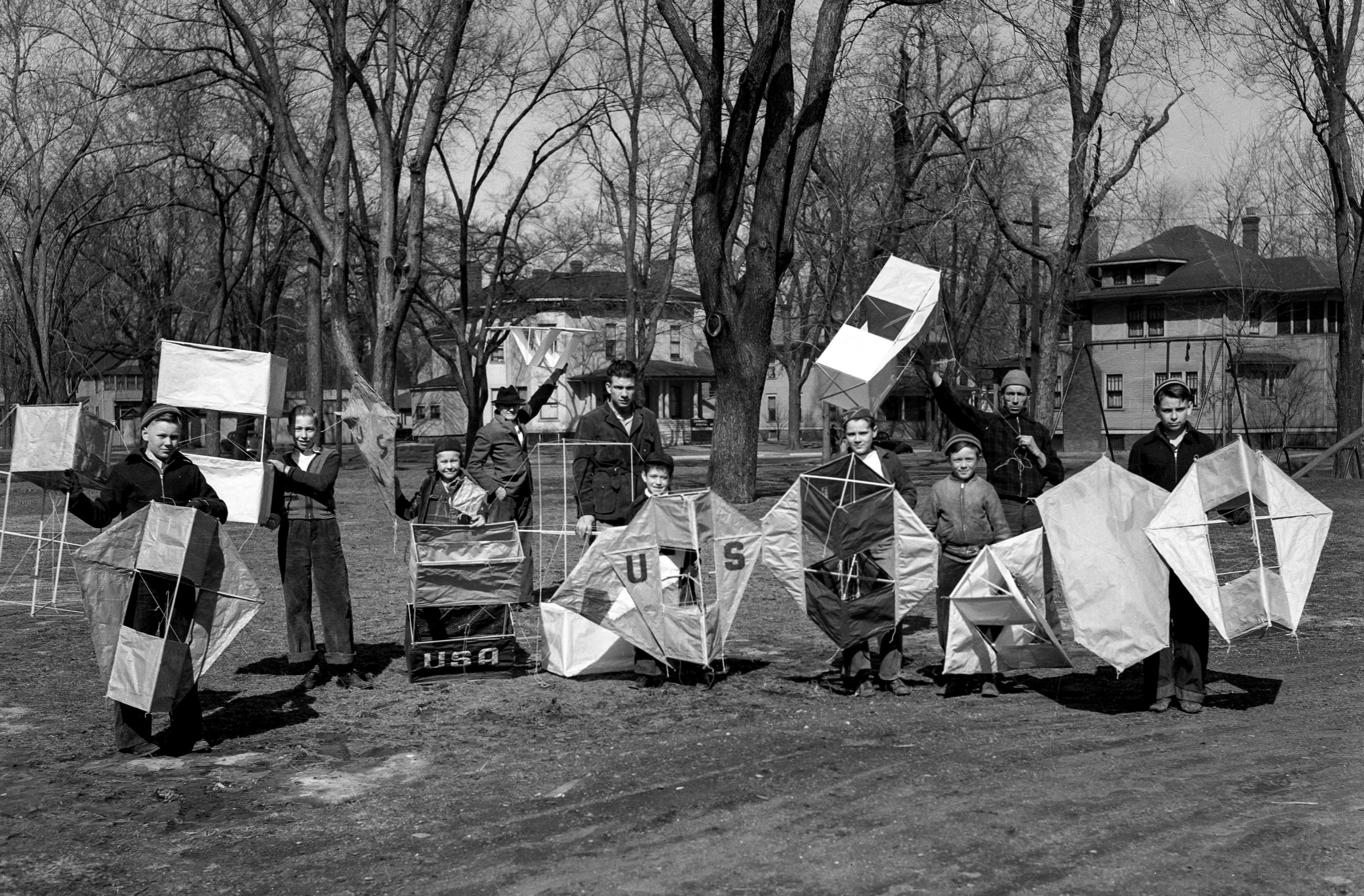 Children's Home, children with kites, March 18, 1939. File/The State Journal-RegisterPublished as Picturing the Past March 25, 2018It�s said that two Chinese philosophers in the 5th-century BC are credited with inventing kites, so it�s quite a testament to their enduring appeal that the recreation department of the Springfield Children�s Home chose kite making as an activity in March of 1939. Children who participated in the exercise were photographed with their creations, and according to The Illinois State Journal, were arranging for test flights for each classification. File/The State Journal-Register