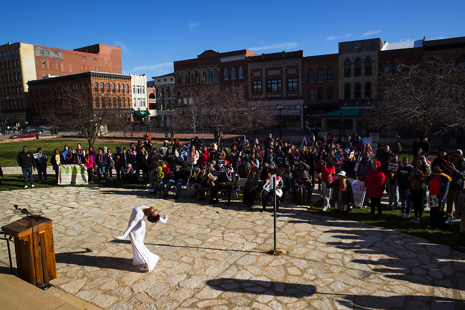 Judaea Hopson performs with the 4H Dancers from the Sangamon County 4-H club during a ceremony following the reenactment of the historic 1965 Selma to Montgomery March on Sunday, March 25, 2018. The march, from Chamberlain Park to the Old State Capitol, was organized by the 4-H club. [Ted Schurter/The State Journal-Register]