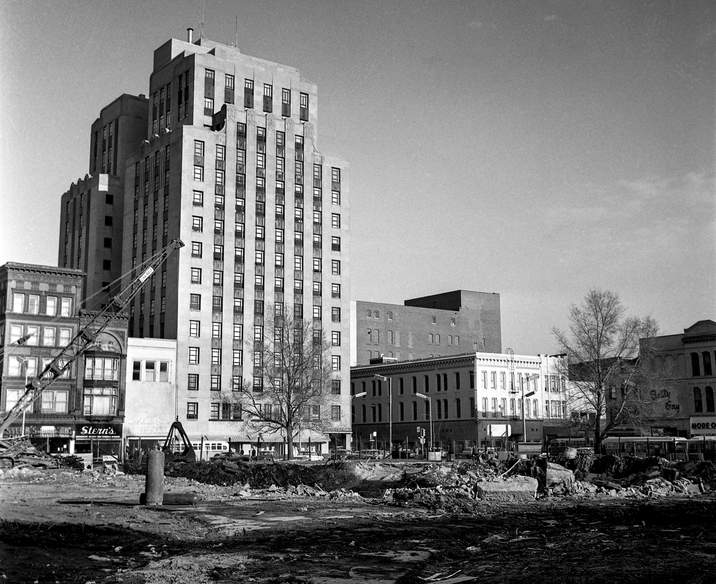 Downtown Springfield public square with Old State Capitol demolished before restoration, April 8, 1966. File/The State Journal-Register#picpast #spihistory; architecture; downtown; public squarePublished as Picturing the Past, April 1, 2018.Today is April Fool's Day, but if you notice something missing in a view of the downtown square on April 8, 1966, it's not a joke. The Old State Capitol is really gone. It was a sign that one of the most consequential changes made to downtown Springfield was well under way. The exterior of the former State Capitol building, which more recently had served as the Sangamon County Courthouse, had been disassembled stone-by-stone and preserved, while the inside was demolished. Soon, work would begin on excavating the site to make way for underground parking and office space. Then the building would be reconstructed to its appearance when Abraham Lincoln served as a state legislator. The process took three years. [File/The State Journal-Register]