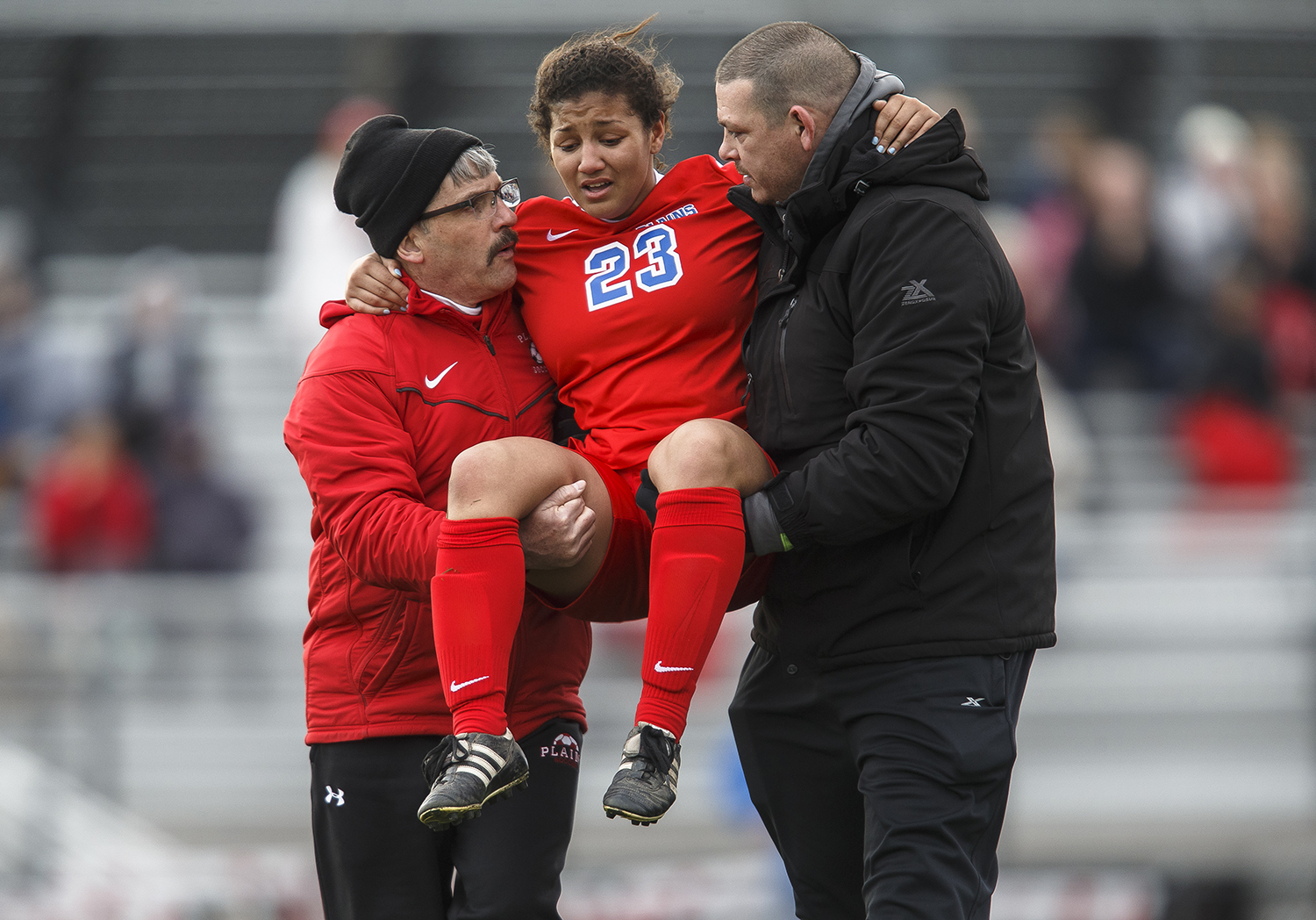 Pleasant Plains Brooklyn Blackwell (23) is carried off the field after an injury as the Cardinals take on Glenwood in the second half at Glenwood High School, Thursday, April 5, 2018, in Chatham, Ill. [Justin L. Fowler/The State Journal-Register]