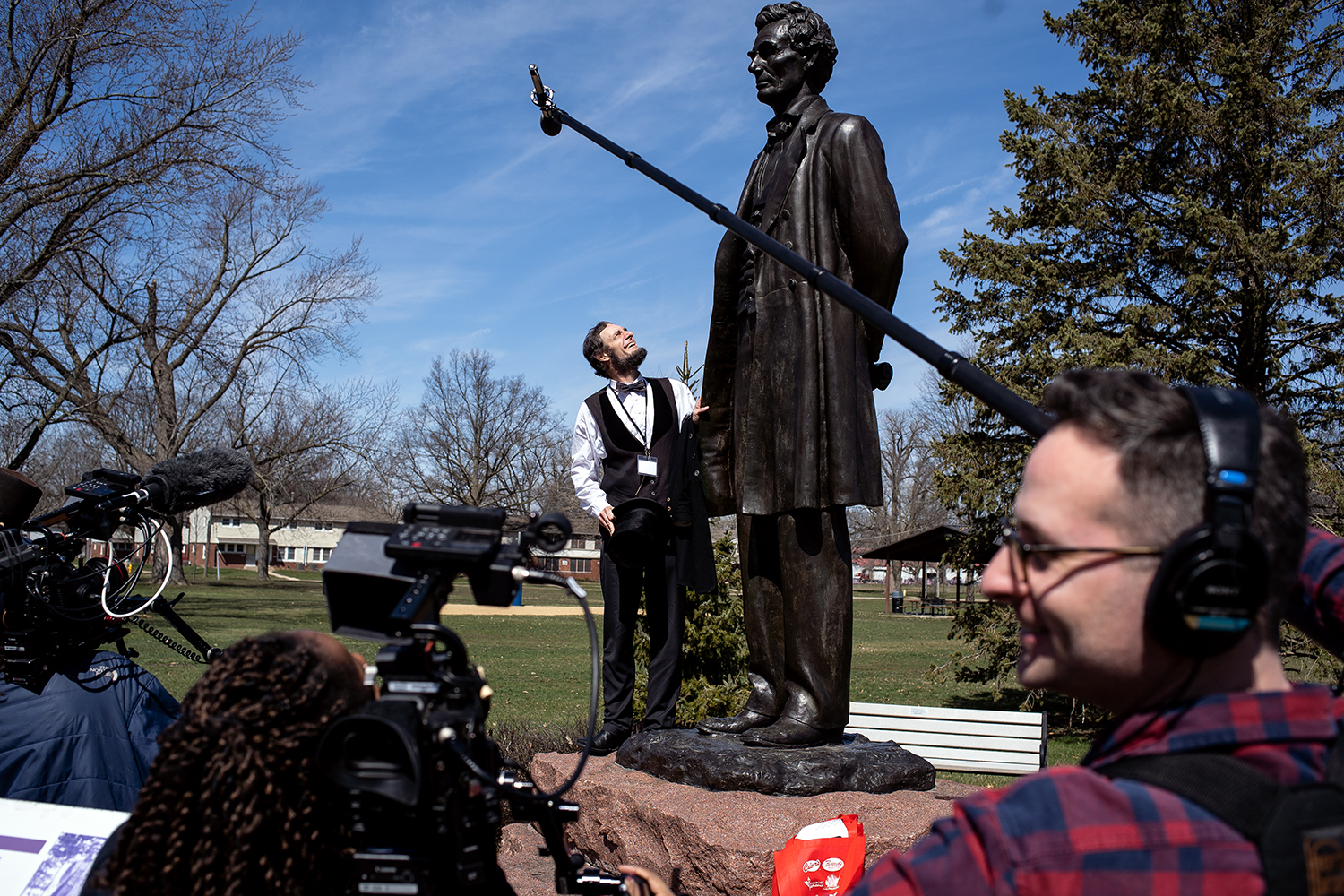 Kevin Wood is filmed in Taylor Park by a crew from Vice Media during the Association of Lincoln Presenters annual convention Friday, April 20, 2018 in Freeport, Ill. [Rich Saal/The State Journal-Register]