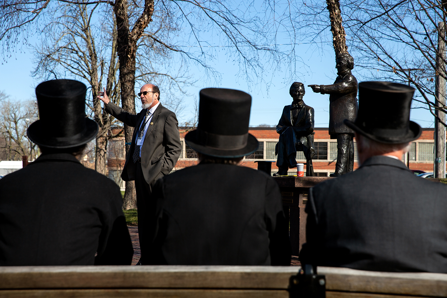 George Buss talks about the Lincoln-Douglas debate that took place in Freeport, Ill. during the Association of Lincoln Presenters annual convention Friday, April 20, 2018. [Rich Saal/The State Journal-Register]