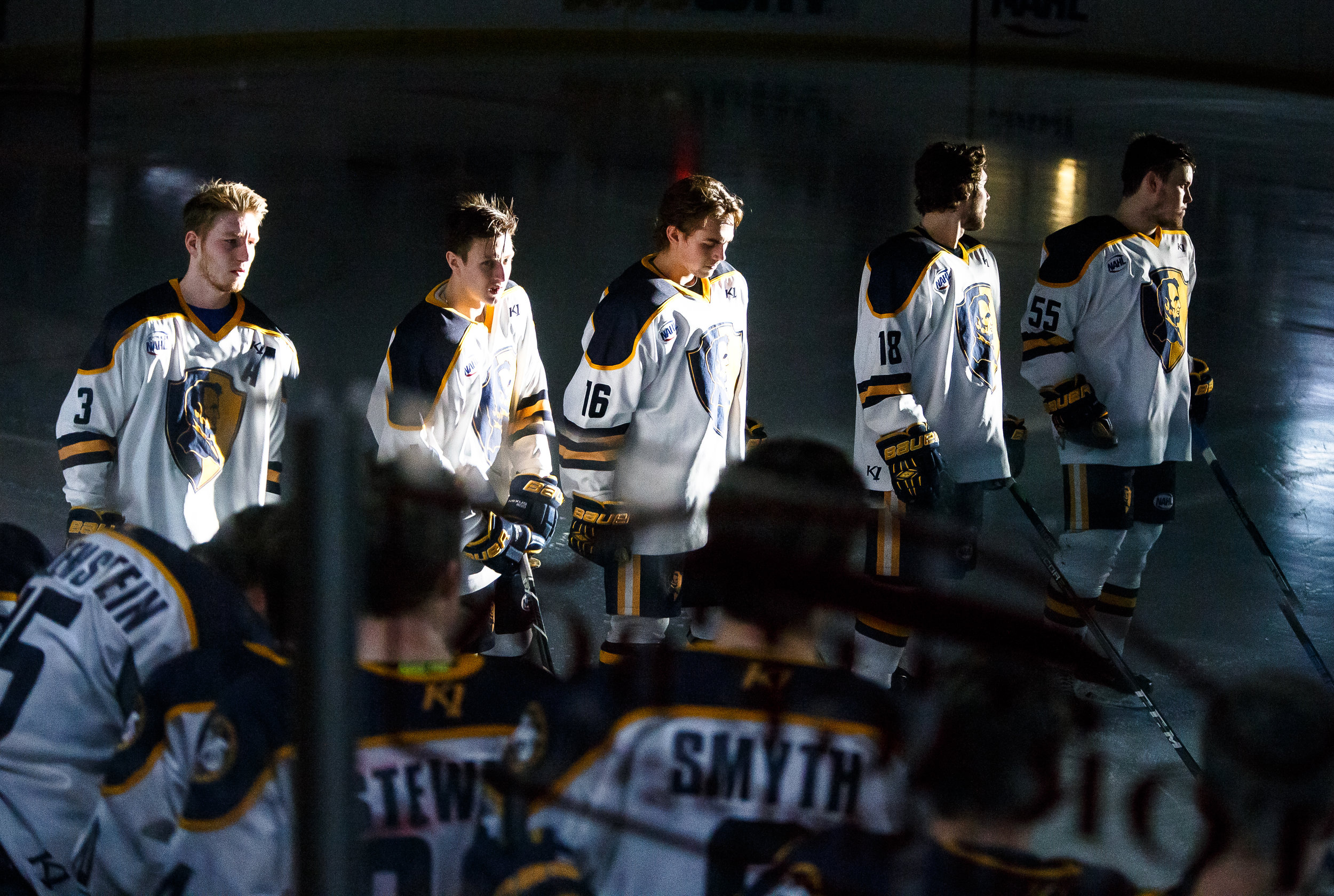 Springfield's Nick Schultze (16) and the Jr. Blues take the ice during player introductions prior to taking on the Janesville Jets in the first round of the first-round North American Hockey League playoff series at the Nelson Center, Friday, April 20, 2018, in Springfield, Ill. [Justin L. Fowler/The State Journal-Register]