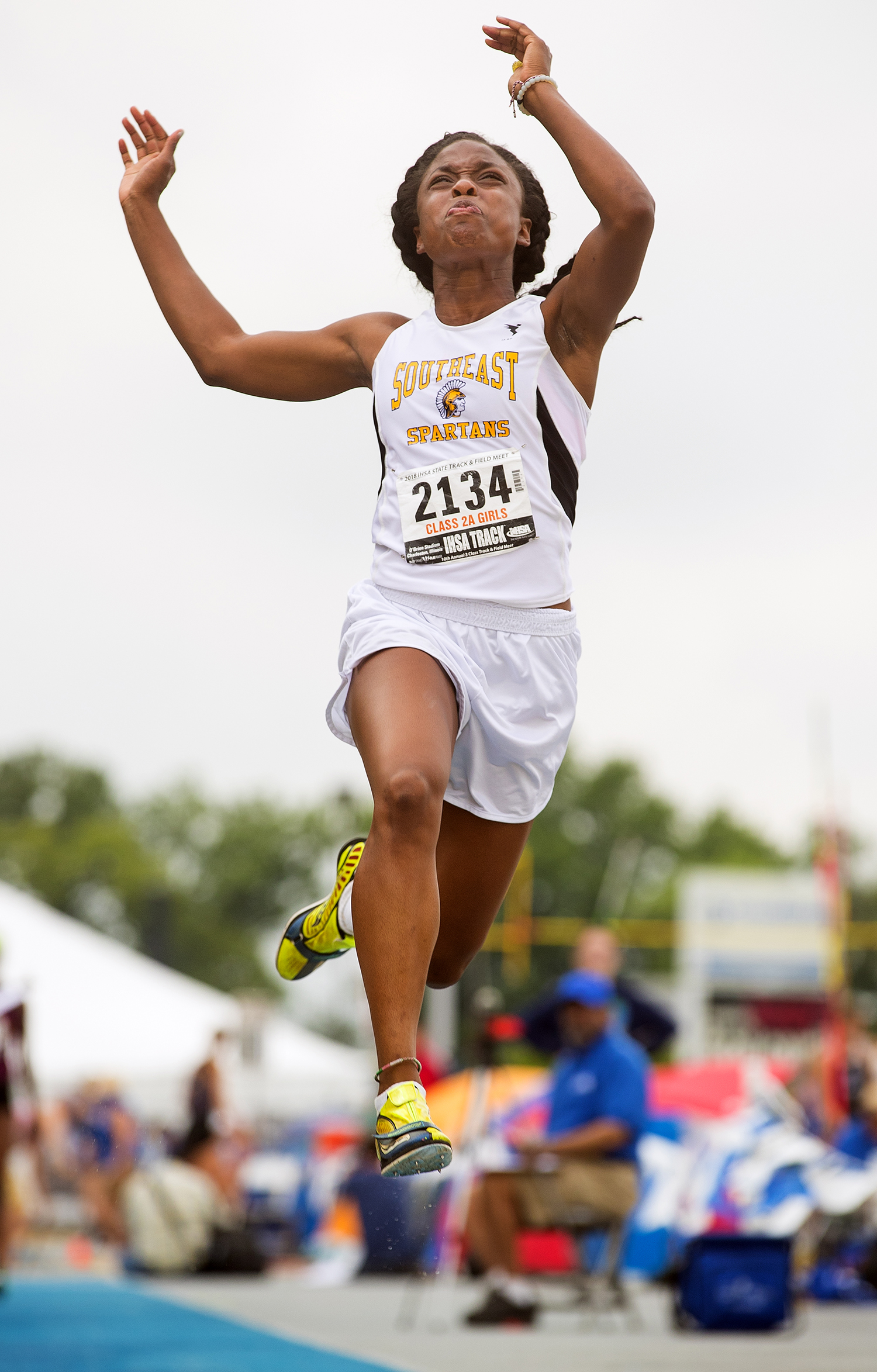 Serena Bolden competes in the Class 2 A long jump during the IHSA Track and Field State Finals at O'Brien Field in Charleston, Ill., Saturday, May 19, 2018. Bolden finished third in the event. [Ted Schurter/The State Journal-Register]