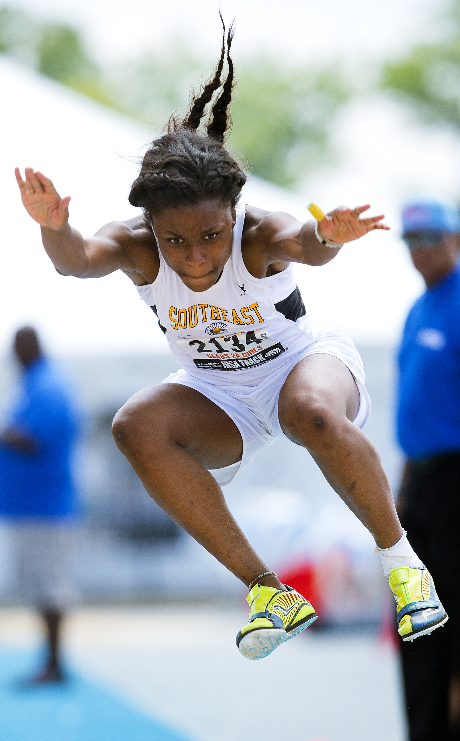Southeast's  Serena Bolden competes in the Class 2A triple jump during thei IHSA Track and Field State Finals at O'Brien Field in Charleston, Ill., Saturday, May 19, 2018. Bolden finished fourth in the event.  [Ted Schurter/The State Journal-Register]