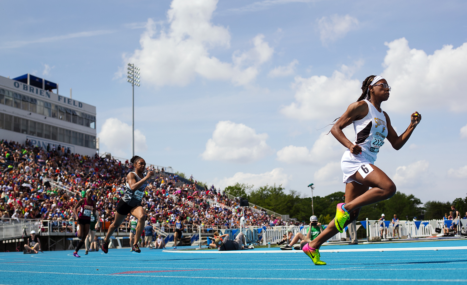 Southeast's Raven Moore takes off in the 400 meter dash during IHSA Track and Field State Finals at O'Brien Field in Charleston, Ill., Saturday, May 19, 2018. Moore finished second. [Ted Schurter/The State Journal-Register]