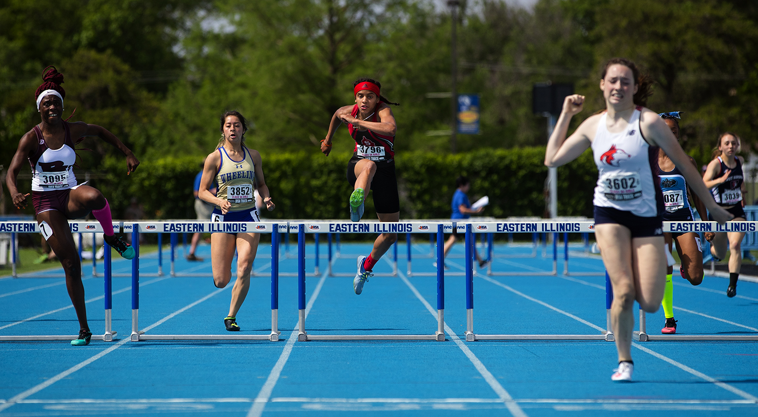 Springfield's Lauren Ferguson clears the last hurdle on her way to a third place finish in the Class 3A 300 meter hurdles at the IHSA Track and Field State Finals at O'Brien Field in Charleston, Ill., Saturday, May 19, 2018.  [Ted Schurter/The State Journal-Register]