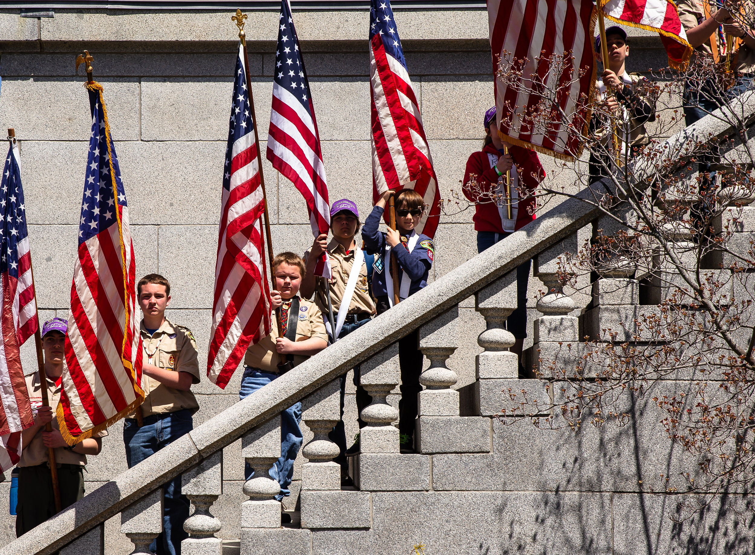 Scouts line the steps of the Lincoln Tomb as they serve as flag bearers for their unit during the 73rd annual Lincoln Pilgrimage by the Boy ScoutsÕ Abraham Lincoln Council at the Lincoln Tomb in Oak Ridge Cemetery, Sunday, April 29, 2018, in Springfield, Ill. [Justin L. Fowler/The State Journal-Register]