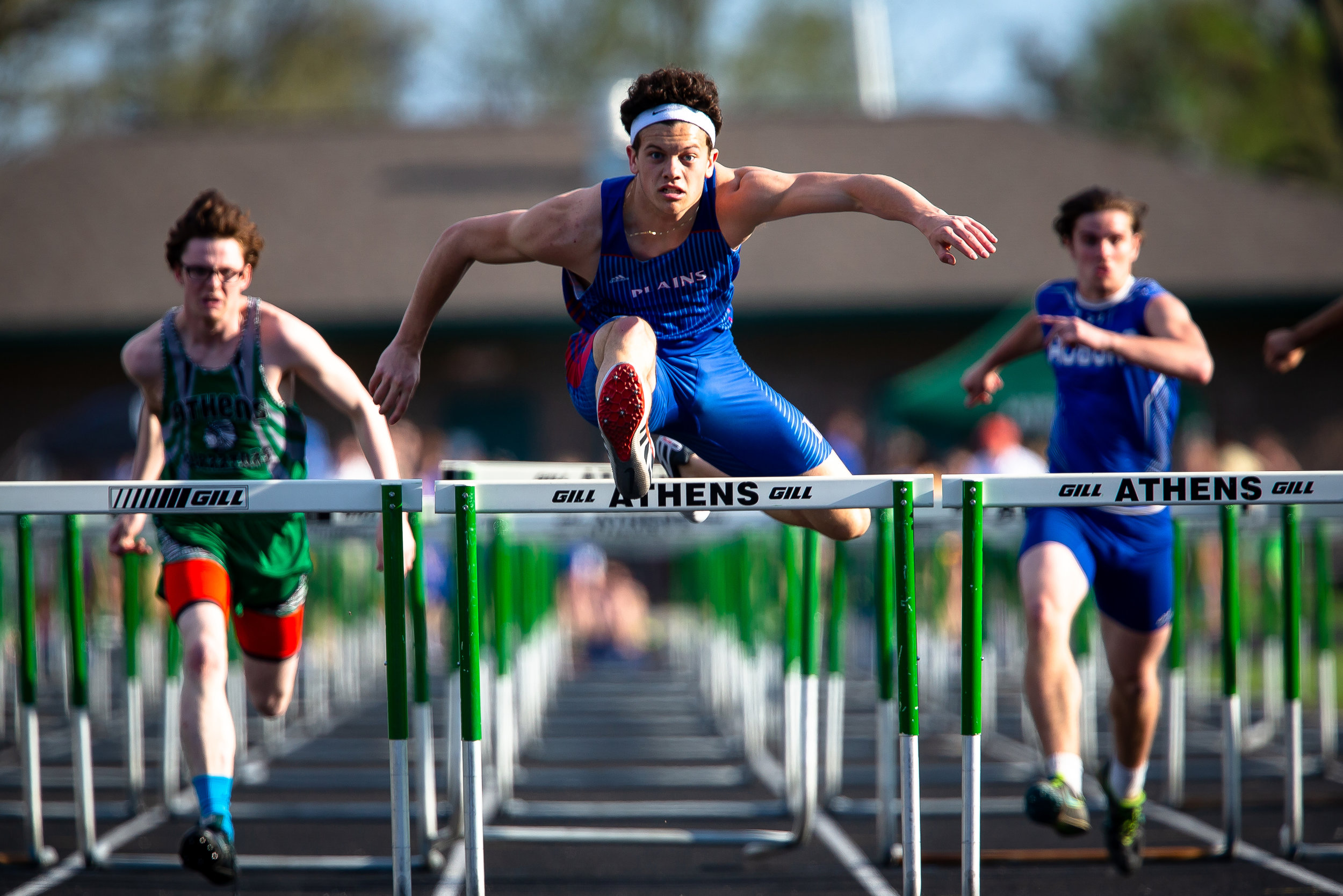 Pleasant Plains' Keigan Halford wins the Boys 110m Hurdles with a time of 15.58 during the Sangamon County Track & Field Meet at Athens High School, Friday, May 4, 2018, in Athens, Ill. [Justin L. Fowler/The State Journal-Register]