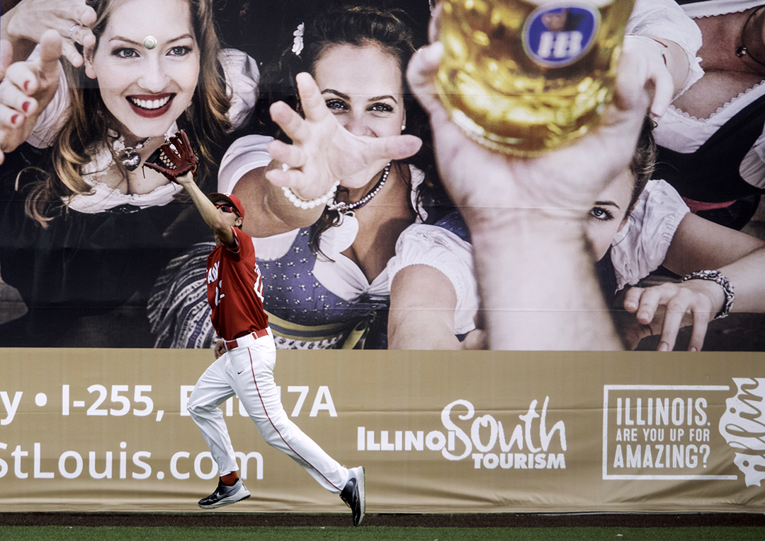 Glenwood's Adam Holm runs down a pop fly during the class 3A Baseball Super Sectional at GCS Ballpark  in Sauget, Ill., Monday, June 4, 2018. [Ted Schurter/The State Journal-Register]