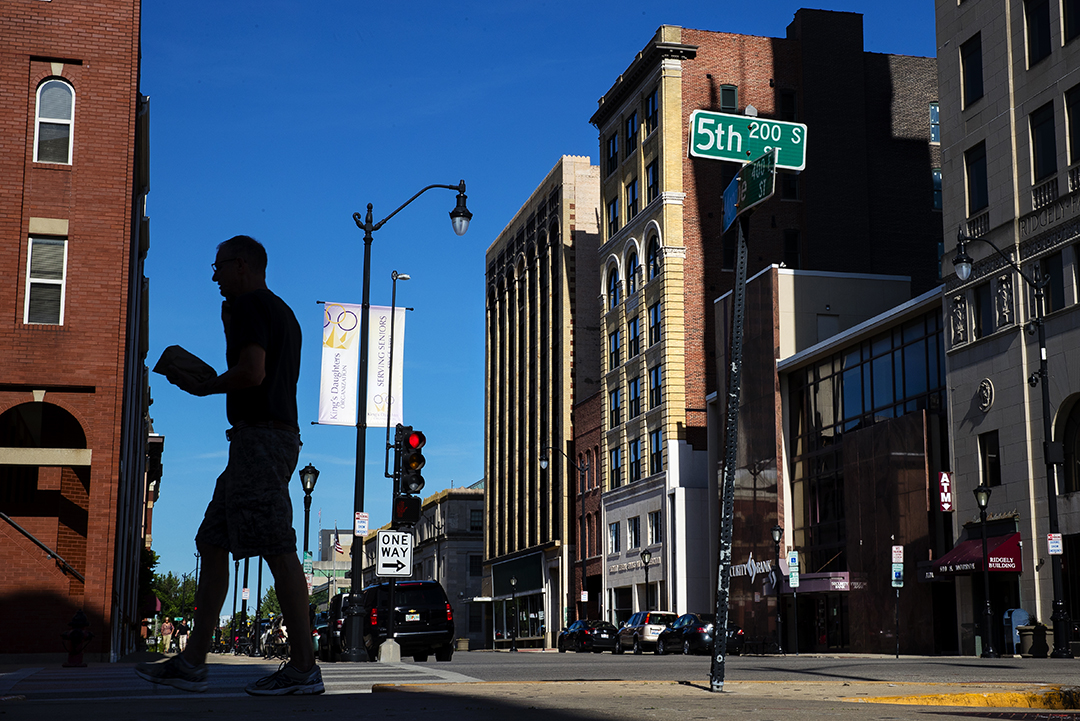 The Springfield City Council is debating the future of TIF financing for the ongoing renovations of the Ferguson and Booth buildings, center, on Monroe Street in Springfield. [Ted Schurter/The State Journal-Register]