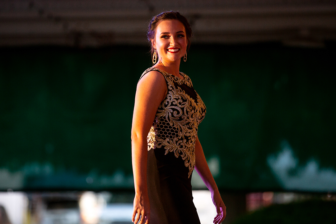 Schyler Harris during the evening gown portion of the Sangamon County Fair Queen pageant Tuesday, June 12, 2018 at the Sangamon County Fairgrounds in New Berlin, Ill. [Rich Saal/The State Journal-Register]