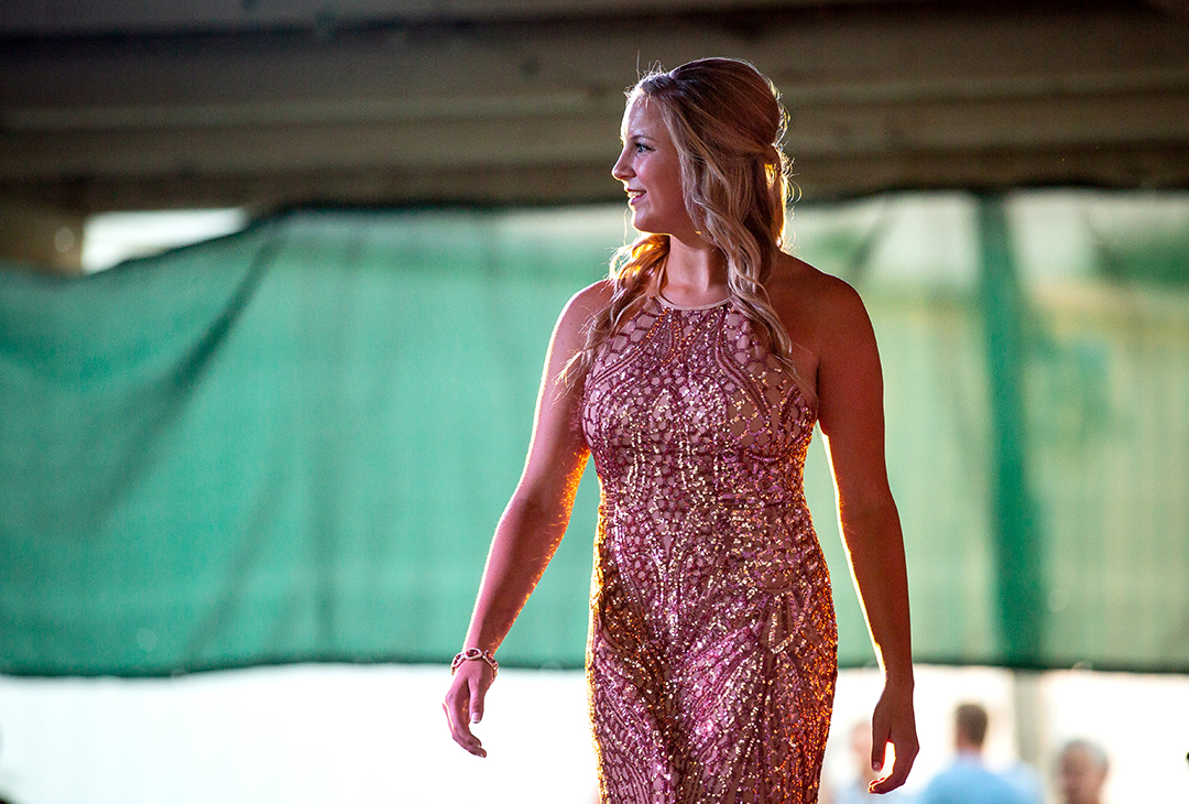Paige Mendenhall during the evening gown portion of the Sangamon County Fair Queen pageant Saturday, June 9, 2018 at the Sangamon County Fairgrounds in New Berlin, Ill. [Rich Saal/The State Journal-Register]