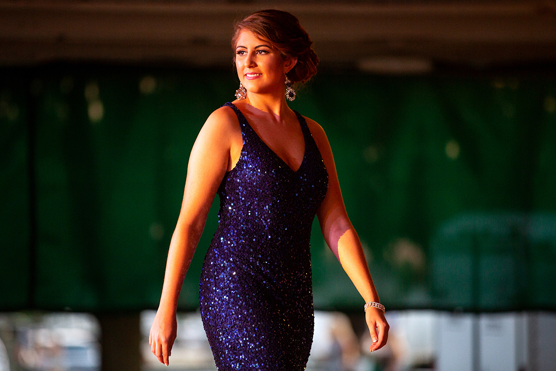 Kennedy Green during the evening gown portion of the Sangamon County Fair Queen pageant Tuesday, June 12, 2018 at the Sangamon County Fairgrounds in New Berlin, Ill. [Rich Saal/The State Journal-Register]Kennedy Green