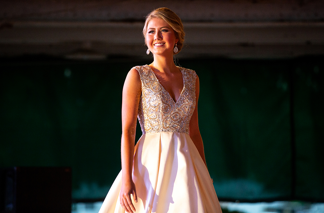 Calyssa Richie, the 3rd runner up in the Sangamon County Fair Queen pageant, during the evening gown portion of the pageant Tuesday, June 12, 2018 at the Sangamon County Fairgrounds in New Berlin, Ill. [Rich Saal/The State Journal-Register]