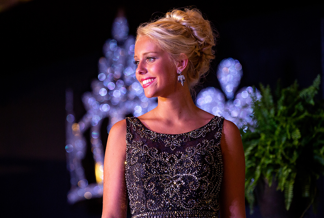 Grace Sinclair, the 1st runner up in the Sangamon County Fair Queen pageant, during the evening gown portion of the competition Tuesday, June 12, 2018 at the Sangamon County Fairgrounds in New Berlin, Ill. [Rich Saal/The State Journal-Register]