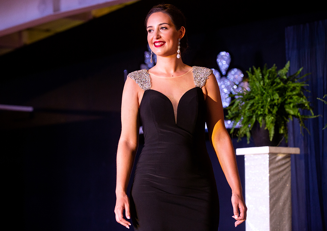 Brianna Parada during the evening gown portion of the Sangamon County Fair Queen pageant Tuesday, June 12, 2018 at the Sangamon County Fairgrounds in New Berlin, Ill. [Rich Saal/The State Journal-Register]