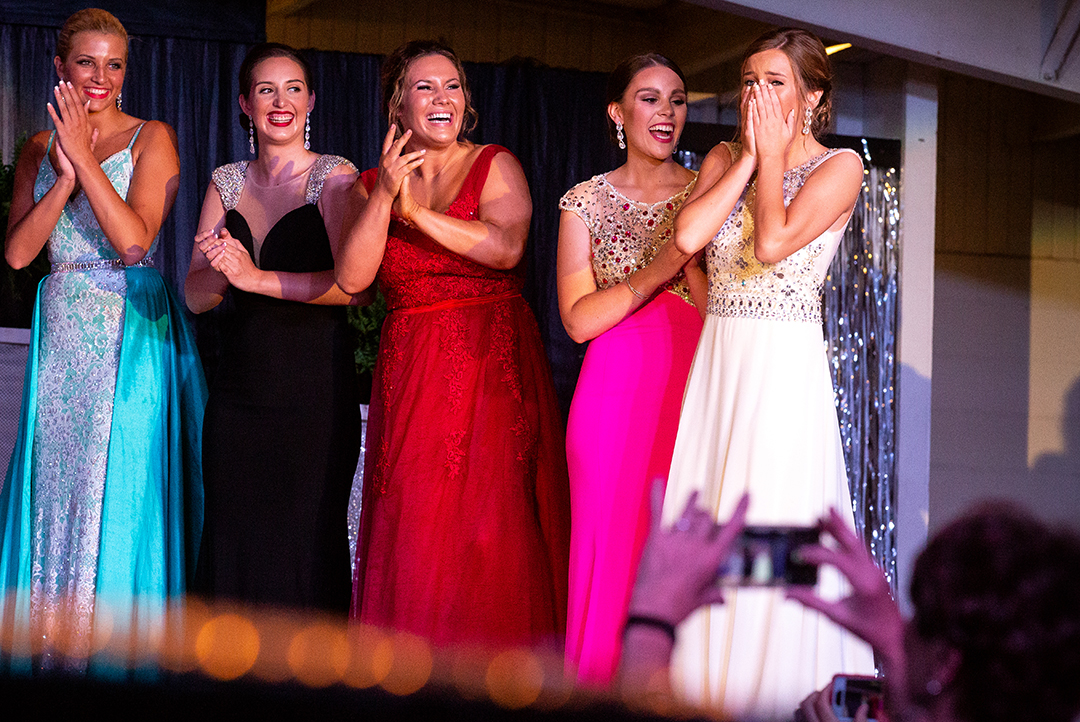Chloe Leonard reacts to hearing herself named the 2018 Sangamon County Fair Queen Tuesday, June 12, 2018 at the Sangamon County Fairgrounds in New Berlin, Ill. From left are Katryel Clark, Brianna Parada, Claire Moore and Sarah Hudspeth. [Rich Saal/The State Journal-Register]