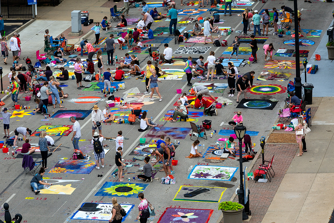 Participants in the 2018 Paint the Street festival hosted by the Springfield Art Association fill Washington Street Saturday, June 23, 2018. Rich Saal/The State Journal-Register]