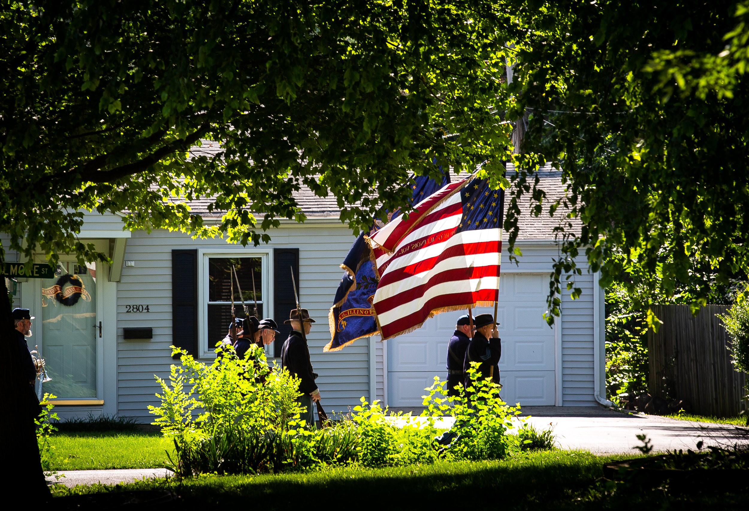 The 114th Illinois Infantry Regiment makes it way up Fillmore Street in the Village of Jerome's July 4th parade Wednesday, July 4, 2018 in Jerome, Ill. [Rich Saal/The State Journal-Register]