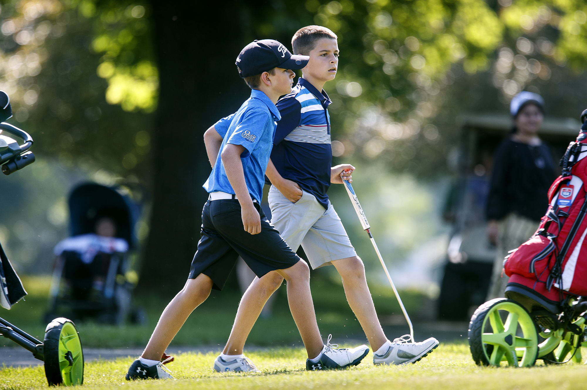 Ryan, left, and Drew Suhre of Edwardsville approach the No. 6 green in the boys 11-13 championship flight of the Drysdale Junior Golf Tournament Tuesday, July 10, 2018 at Bergen Golf Course in Springfield, Ill. [Rich Saal/The State Journal-Register]