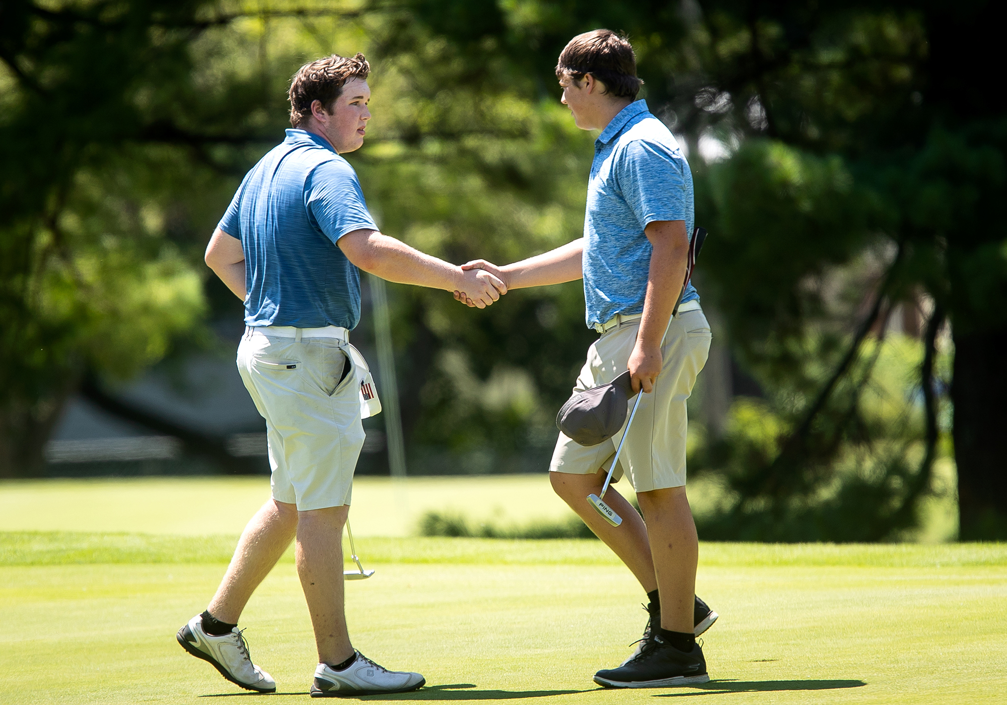 Chase Piehler of Beardstown, left, took a 5-up-4 semifinal decision over JacksonvilleÕs Harrison Chumley in the boys 16-17 championship flight semifinals of the Drysdale Junior Golf Tournament Wednesday, July 11, 2018 at Bunn Golf Course in Springfield, Ill. [Rich Saal/The State Journal-Register]