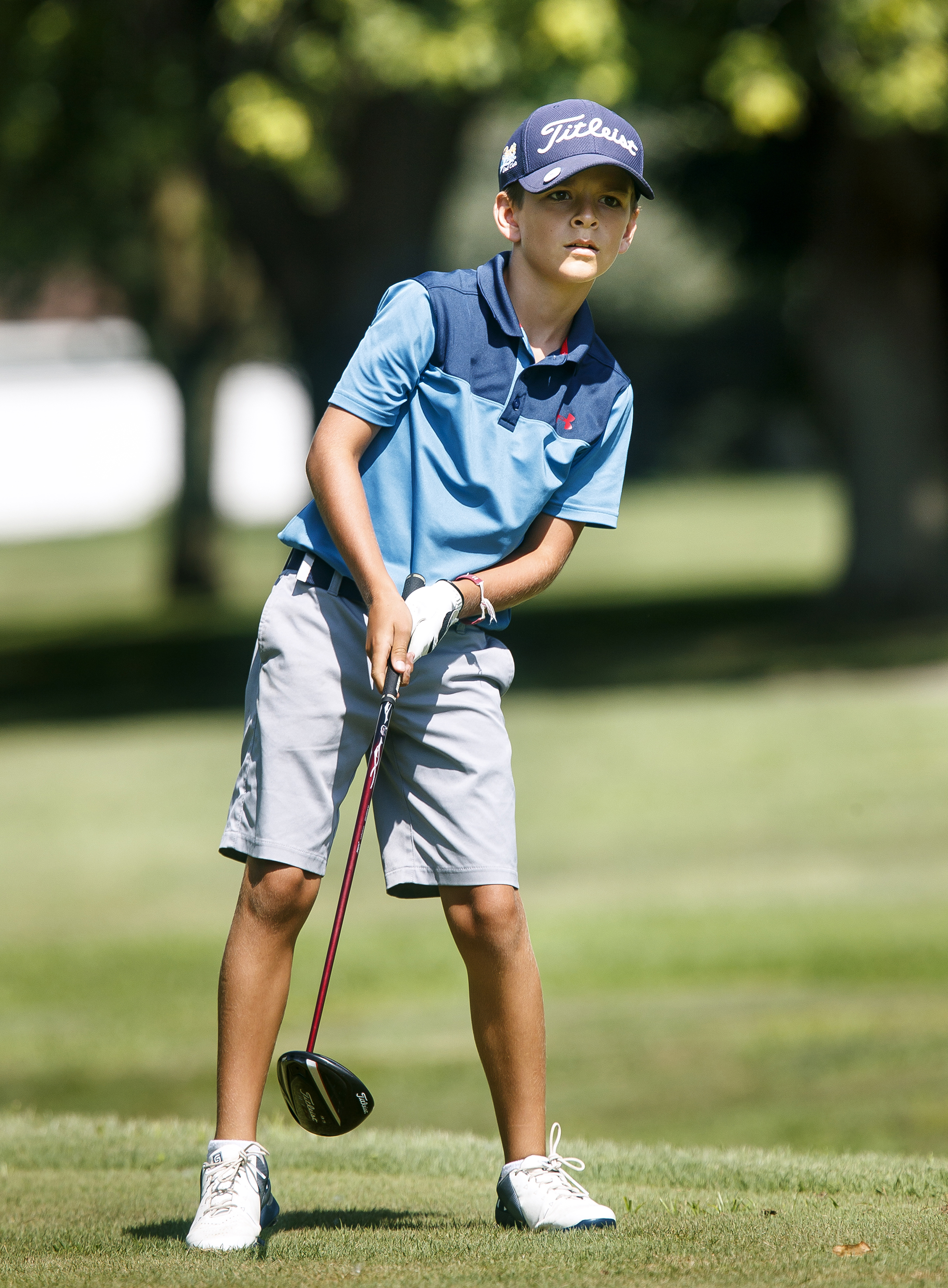 Ryan Suhre watches his drive shot from the No. 1 tee in the boys 11-13 championship flight Thursday, July 12, 2018 in the Drysdale Junior Golf Tournament at Bergen Golf Course in Springfield, Ill. Suhre of Edwardsville defeated Carter Etheridge of Springfield. [Rich Saal/The State Journal-Register]