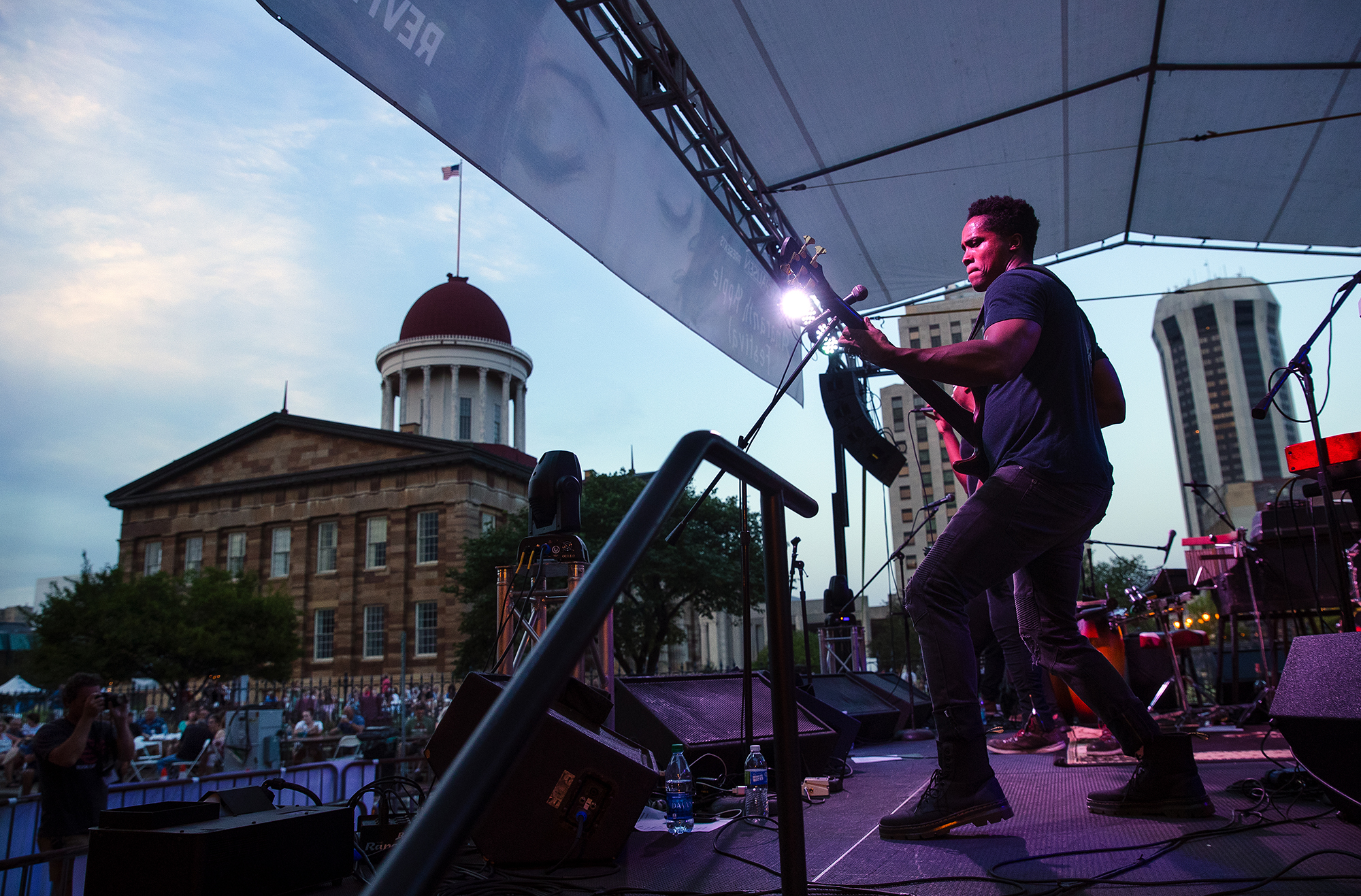 """The JC Brooks Band performs during the """"Amaranth Apple"""" Music & Food Fest Friday, July 13, 2018. The festival continues Saturday with free admission for guests under 12 years-old and $5 admission for everyone 13 years-old and up. [Ted Schurter/The State Journal-Register]"""