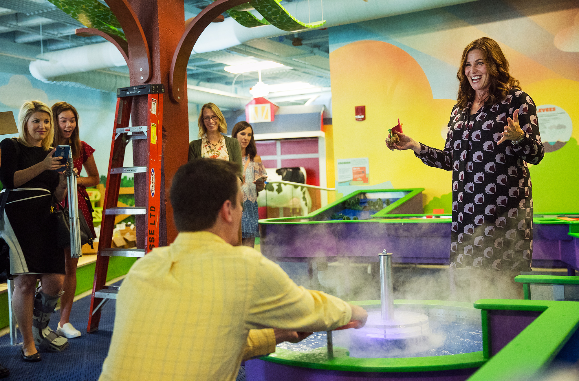 Rachael Thomson, Board President of the Kidzeum of Health and Science, laughs as she describes one of the water features during a media tour of the nearly completed facility Monday, July 17, 2018. [Ted Schurter/The State Journal-Register]
