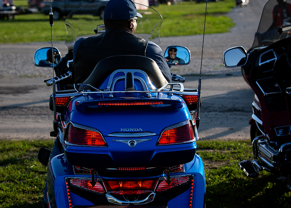 Dennis Hemphill from Napa, Calif., sits on a Honda Goldwing at the National Bikers Roundup Wednesday, Aug. 1, 2018 Illinois State Fairgrounds in Springfield, Ill. [Rich Saal/The State Journal-Register]
