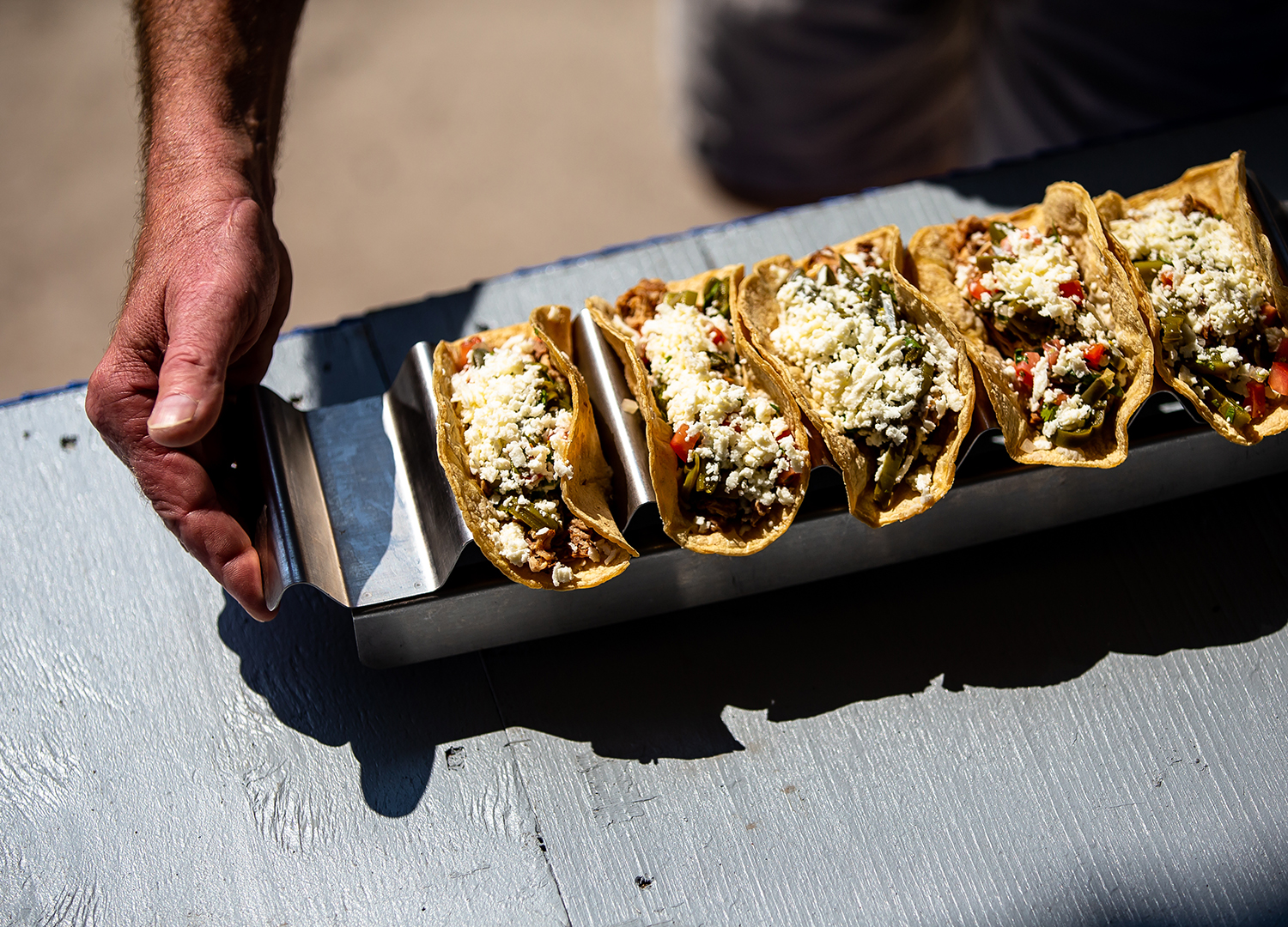 The street tacos by Phil Caplis head for judging in the savory category the Golden Abe's Fantastic Fair Food competition at the Lincoln Stage at the Illinois State Fair, Friday, Aug. 10, 2018, in Springfield, Ill. [Justin L. Fowler/The State Journal-Register]