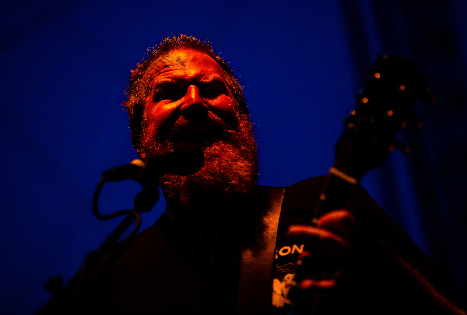 Brent Hinds on guitar and vocals with Mastodon as the band performs on the Grandstand Stage during the Illinois State Fair, Saturday, Aug. 11, 2018, in Springfield, Ill. [Justin L. Fowler/The State Journal-Register]