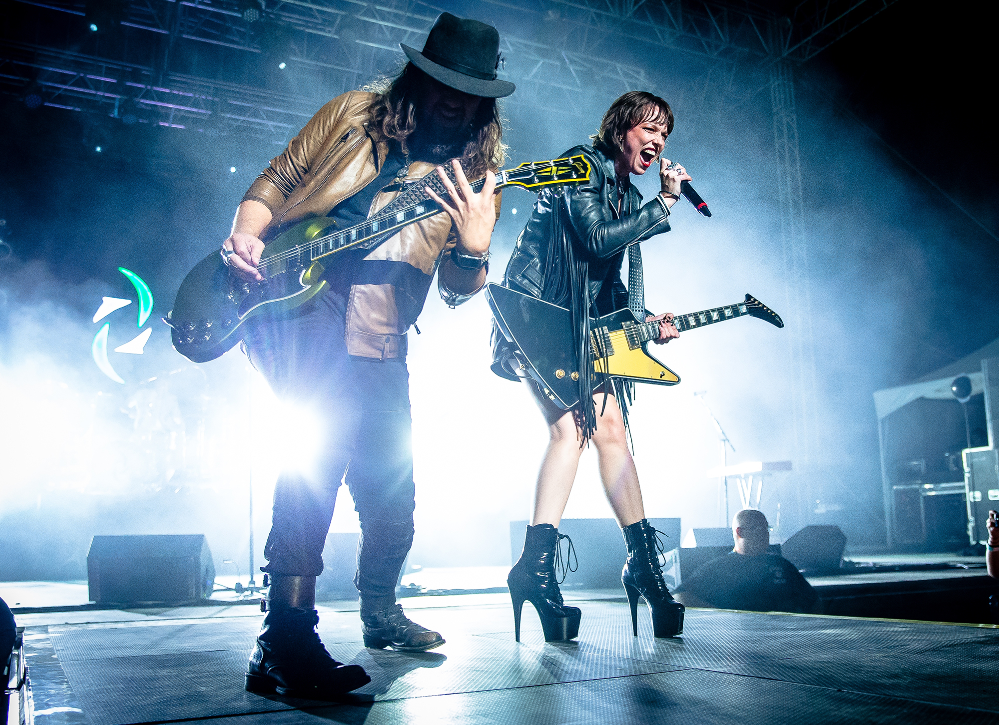 Lead singer and guitarist Lzzy Hale and guitarist Joe Hottinger perform with Halestorm as the band performs on the Grandstand Stage during the Illinois State Fair, Saturday, Aug. 11, 2018, in Springfield, Ill. [Justin L. Fowler/The State Journal-Register]