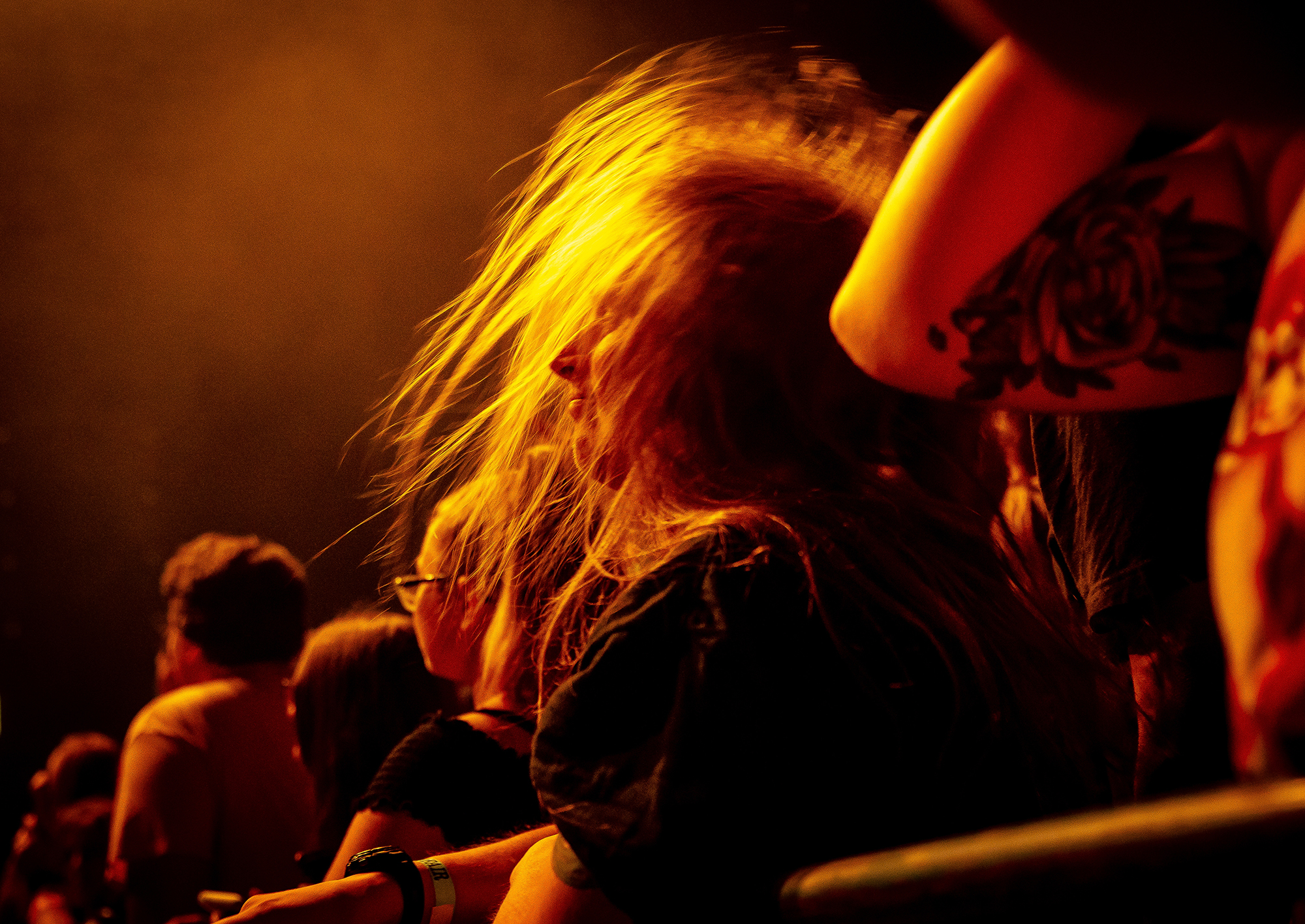 Fans join in with headbanging as band Halestorm performs on the Grandstand Stage during the Illinois State Fair, Saturday, Aug. 11, 2018, in Springfield, Ill. [Justin L. Fowler/The State Journal-Register]