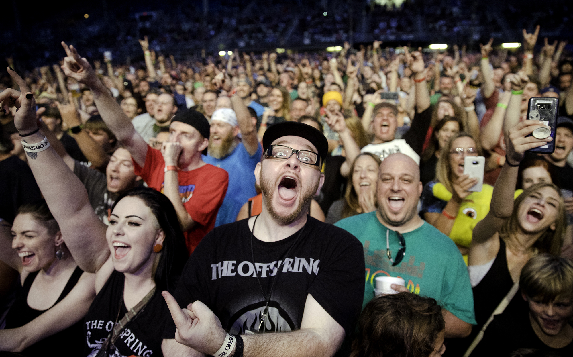 Fans scream for The Offspring during their performance at the Illinois State Fair Wednesday, Aug. 15, 2018. [Ted Schurter/The State Journal-Register]