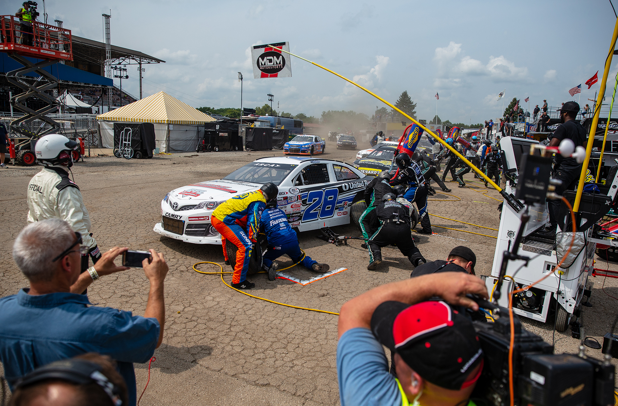 Sheldon Creed comes in for a pit stop on a caution during the ARCA Racing Series Allen Crowe 100 on the Springfield Mile during the Illinois State Fair at the Illinois State Fairgrounds, Sunday, Aug. 19, 2018, in Springfield, Ill. [Justin L. Fowler/The State Journal-Register]