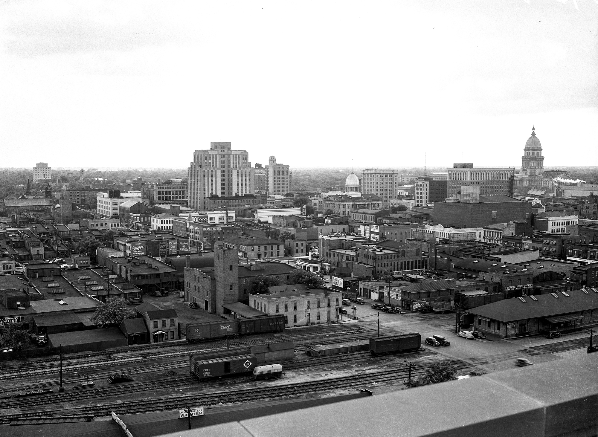 View of downtown from roof of St.John's Hospital, Madison St. RR corridor in foreground.  August 4, 1948. file/The State Journal-Register