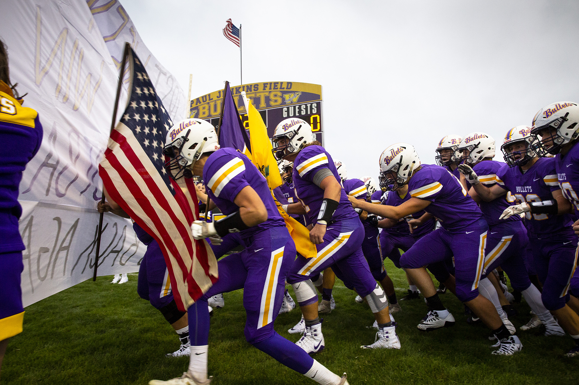 The Williamsville Bullets take the field for the Sangamo Conference season opener agains the Athens Warriors Friday, Aug. 24, 2018 at Williamsville High School in Williamsville, Ill. [Rich Saal/The State Journal-Register]