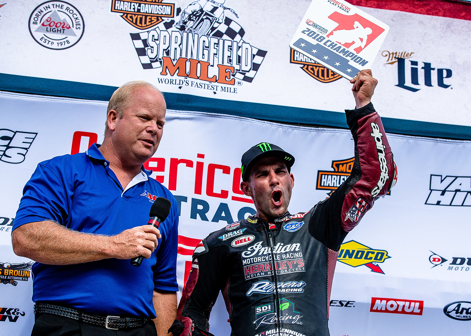 Jared Mees celebrates clinching the Grand National Championship title for the season by finishing second during the American Flat Track Springfield Mile II at the Illinois State Fairgrounds, Sunday, Sept. 2, 2018, in Springfield, Ill. [Justin L. Fowler/The State Journal-Register]
