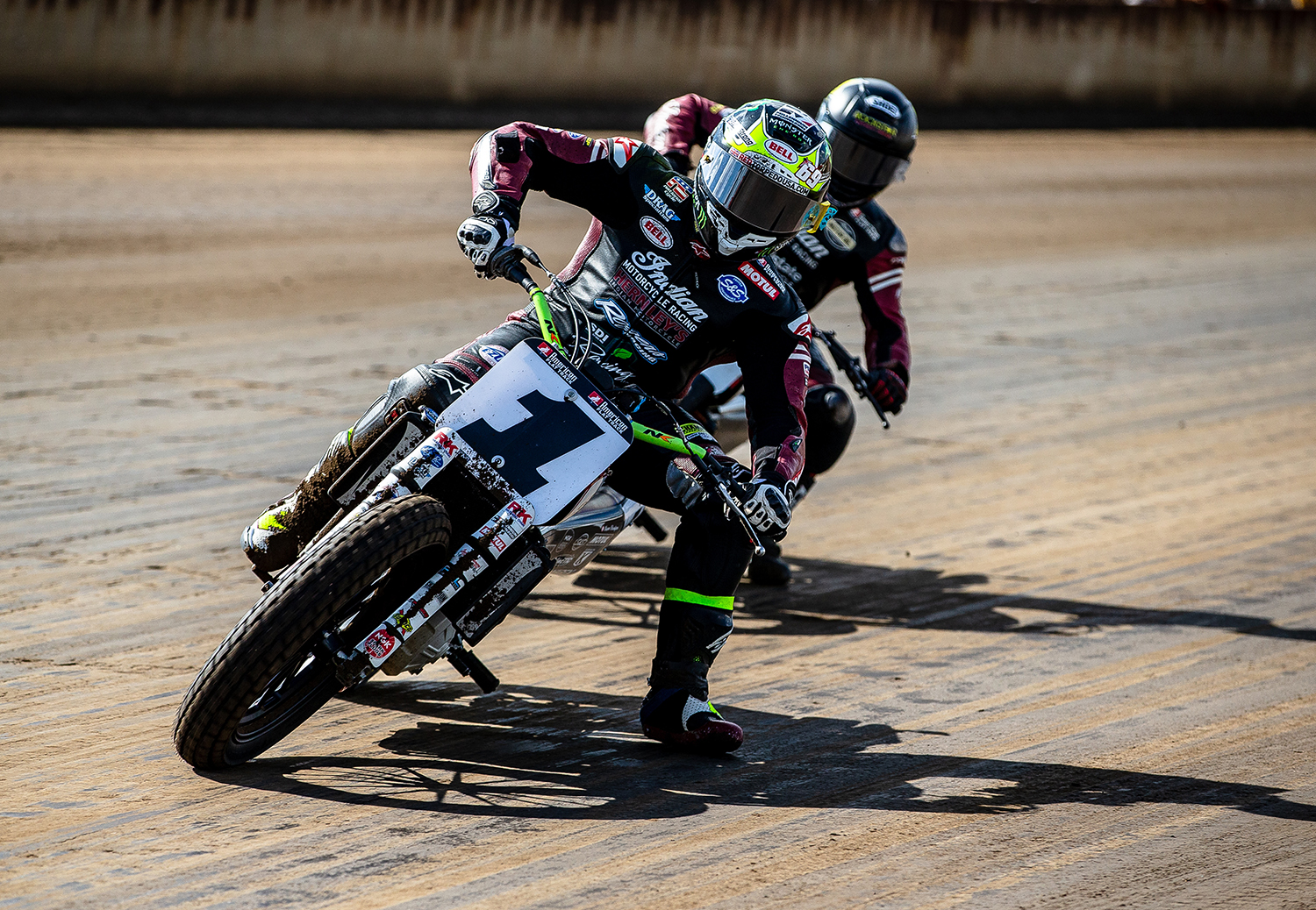 Jared Mees slides through turn one on his Indian Scout FTR750 leading the field during the American Flat Track Springfield Mile II at the Illinois State Fairgrounds, Sunday, Sept. 2, 2018, in Springfield, Ill. [Justin L. Fowler/The State Journal-Register]