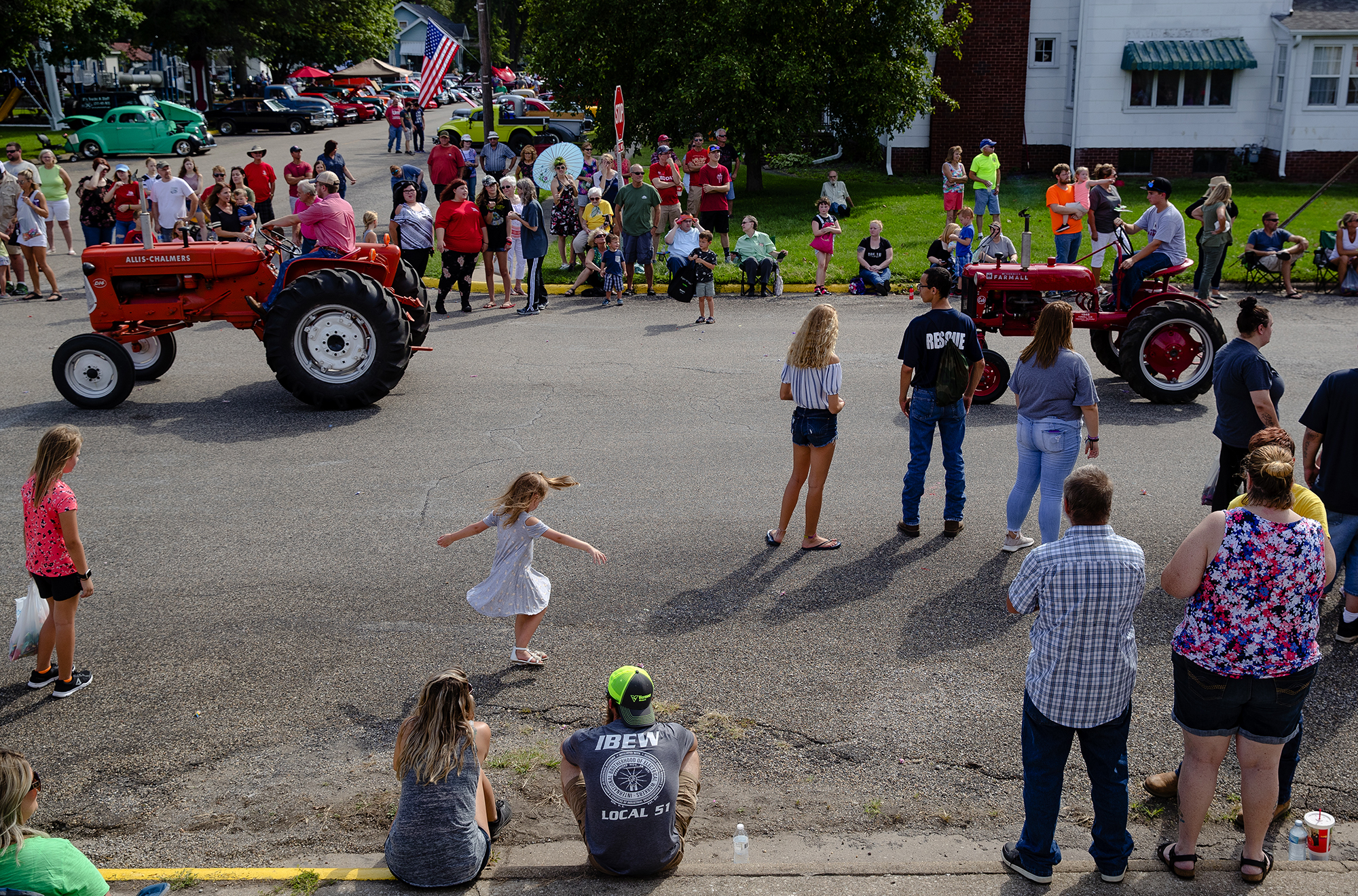 Antique tractors make their way down the parade route during the 50th Annual Greenview Labor Day Celebration Monday, Sept. 3, 2018. [Ted Schurter/The State Journal-Register]