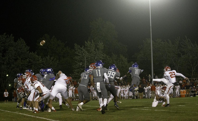 Glenwood's Alek Votava attemps a field goal at Decatur MacArthur High School Friday, Sept. 28, 2018. [Ted Schurter/The State Journal-Register]