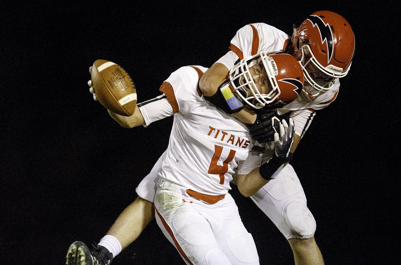 Glenwood's Luke Marsaglia celebrates a touchdown against Decatur MacArthur at Decatur MacArthur High School Friday, Sept. 28, 2018. [Ted Schurter/The State Journal-Register]